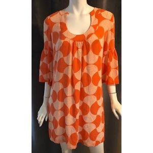 Trina Turk Bell Sleeve Orange and White Dress
